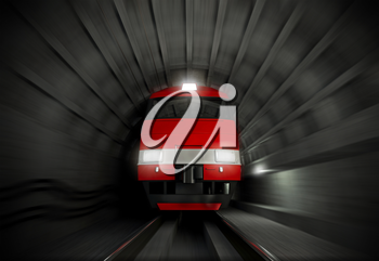 Modern fast red white electric locomotive in the dark tunnel