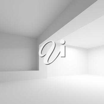 White abstract architecture background. Empty 3d interior