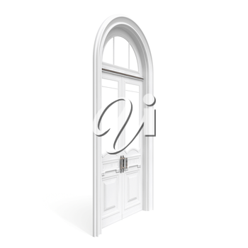 Classical architecture style interior object: white wooden door, half-turn isolated on white