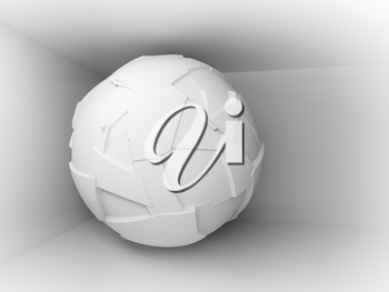 Abstract 3d background with white big flying sphere in empty room interior