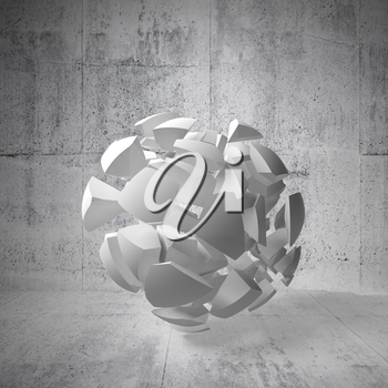 Abstract 3d background with white fragments of big sphere in empty concrete interior