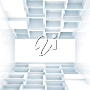 Abstract empty 3d interior with cubes on floor and ceiling and white screen