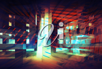 Abstract colorful digital background. Hi-tech 3d concept illustration