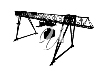 Container bridge gantry crane. Black silhouette isolated on white background. Render of 3d model, wide angle perspective view