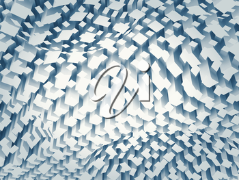 Abstract digital background with chaotic blue square pattern on a curved surface, 3d illustration