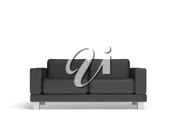 Black sofa isolated on white empty interior background, 3d illustration, front view