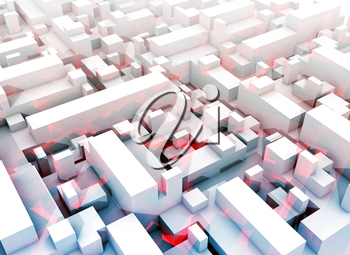 Abstract digital white 3d cityscape with soft light blue shadows and red pattern