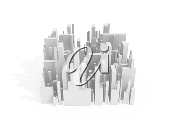 Abstract schematic white 3d cityscape quarter with soft shadow isolated on white
