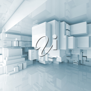 Abstract square high-tech interior background with chaotic cubes constructions, 3d illustration