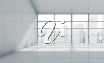 Abstract white interior of an empty office room with cityscape in the window. 3d render illustration