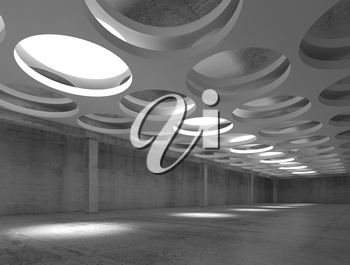 Empty dark concrete hall interior with big round illuminators in suspended ceiling, 3d illustration background