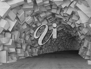 Turning concrete tunnel interior with walls made of chaotic blocks. 3d illustration