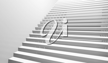 Abstract white interior background with staircase goes up, 3d illustration