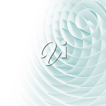 White 3d spirals with soft light blue shadows, abstract digital illustration, square background pattern