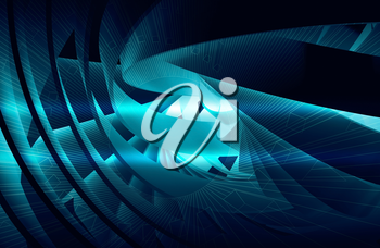 Abstract digital background with shining dark blue 3d spiral structures