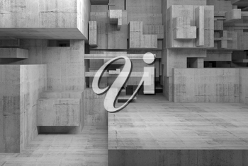 Abstract empty concrete interior with chaotic cubes constructions, high-tech concept, digital 3d illustration