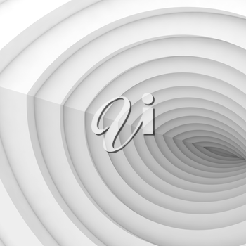 Abstract digital background, white tunnel pattern, 3d illustration