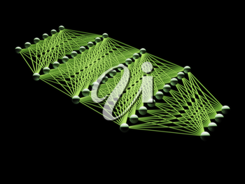 Artificial deep neural network with green links, schematic model isolated on black, 3d illustration
