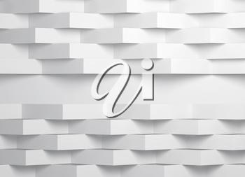 Abstract white digital background pattern, corners of paper stripes over wall with blank place. 3d render illustration