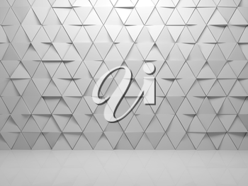 Abstract empty white interior background with triangles tiling pattern on front wall, 3d render illustration