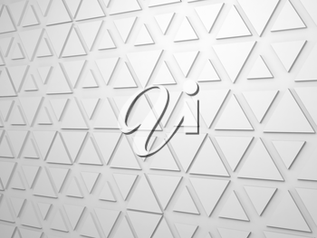 Abstract white digital background with extruded triangles pattern on wall, 3d render illustration