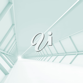 Abstract empty corridor, blue toned white high-tech interior background, 3d illustration