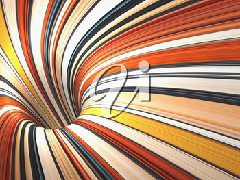 Abstract colorful digital graphic background, empty bent tunnel perspective, 3d render illustration