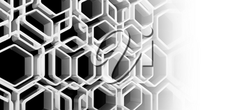 Abstract honeycomb background with copy space area, 3d render illustration