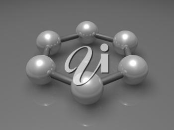 H6 graphene aromatic cluster, schematic molecular model. Hexagonal structure made of carbon atoms. 3d illustration