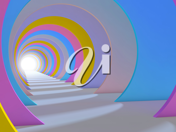 Abstract colorful tunnel interior. 3d render illustration