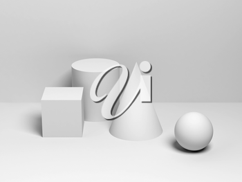 Abstract classical still life installation with white primitive geometric shapes. 3d render