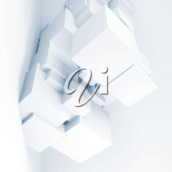 Abstract digital background with installation of cubes, square 3d render illustration