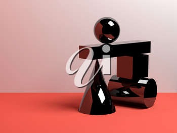 Abstract equilibrium concept, installation of glossy black primitive geometric shapes over white wall background. 3d render illustration