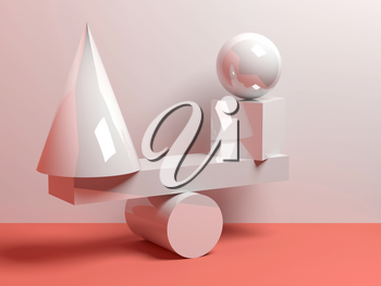 Abstract equilibrium installation of balancing glossy white primitive geometric shapes. 3d render illustration