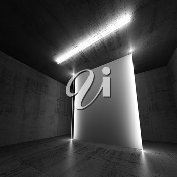 Abstract concrete interior background with empty white vertical banner and neon lights. Square 3d illustration