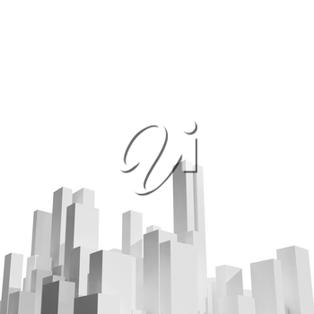 Abstract white city skyline isolated on white. Digital background with primitive blank skyscrapers, square 3d rendering illustration