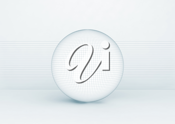 White spherical object with soft shadow and wire frame lines standing over white background, blue toned 3d rendering illustration