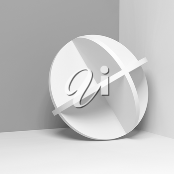 Abstract white round object stands in a corner, square 3d rendering illustration