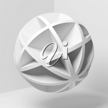 Abstract white spherical object flying in empty corner, square 3d rendering illustration