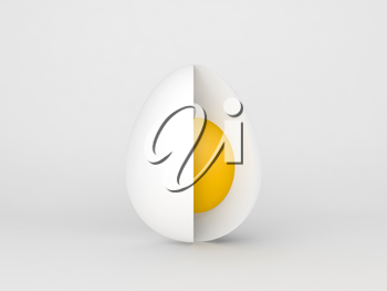 Chicken egg with cut section, standing over white background, 3d rendering illustration