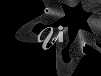 Abstract parametric wire-frame mesh structure isolated on black background, 3d rendering illustration