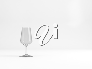 Empty standard Port dessert wine glass with soft shadow stands over white background, 3d rendering illustration