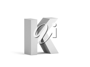 White bold letter K isolated on white background with soft shadow, 3d rendering illustration