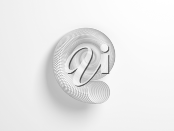 Abstract round spiral shell structure made of circles over white background, 3d rendering illustration