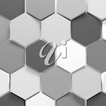 Abstract background pattern with gray and white honeycomb blocks. 3d render illustration