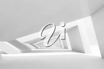 Abstract cg background with empty white endless tunnel interior perspective. 3d rendering illustration