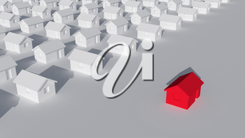 A block of typical small white rural houses with one red outside, self-isolation at home and quarantine abstract cgi representation, 3d rendering illustration