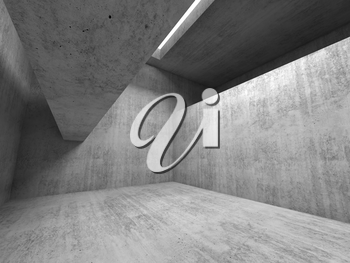 Abstract empty room background,  gray concrete interior, walls and girders, 3d rendering illustration