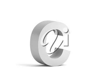 White bold letter C isolated on white background with soft shadow, 3d rendering illustration