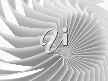 Abstract white round parametric structure, digital graphic background, 3d rendering illustration